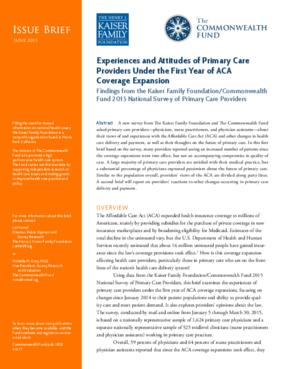Experiences and Attitudes of Primary Care Providers Under the First Year of ACA Coverage Expansion: Findings from the Kaiser Family Foundation/Commonwealth Fund 2015 National Survey of Primary Care Providers