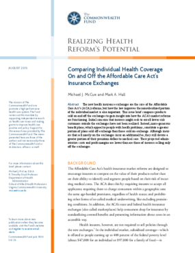 Comparing Individual Health Coverage On and Off the Affordable Care Act's Insurance Exchanges