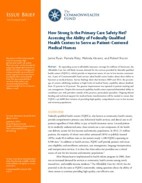 How Strong Is the Primary Care Safety Net? Assessing the Ability of Federally Qualified Health Centers to Serve as Patient-Centered Medical Homes
