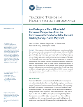 Are Marketplace Plans Affordable? Consumer Perspectives from the Commonwealth Fund Affordable Care Act Tracking Survey, March-May 2015
