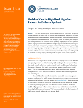 Models of Care for High-Need, High-Cost Patients: An Evidence Synthesis