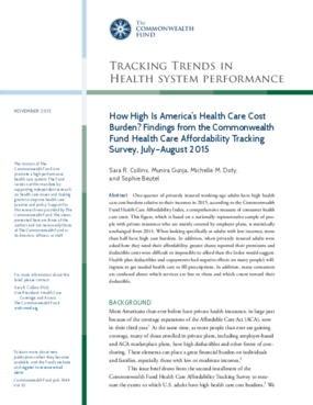 How High Is America's Health Care Cost Burden? Findings from the Commonwealth Fund Health Care Affordability Tracking Survey, July-August 2015