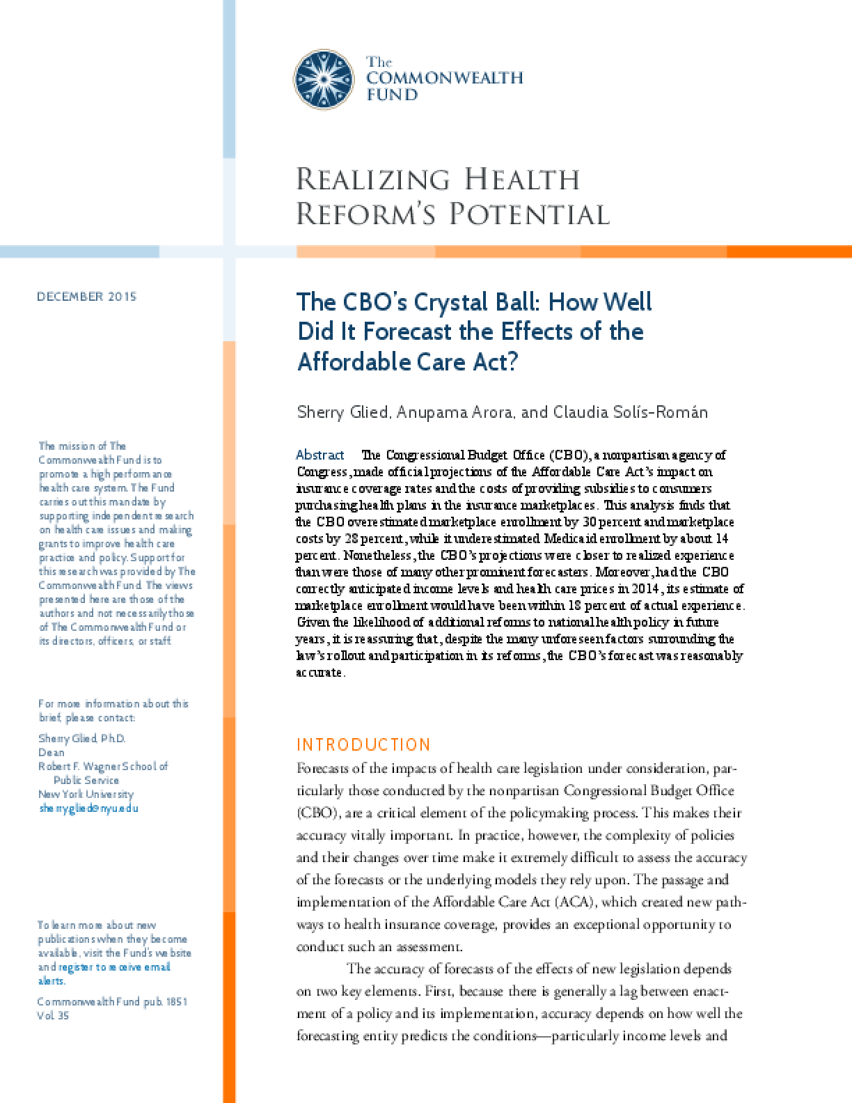 The CBO's Crystal Ball: How Well Did It Predict the Effects of the Affordable Care Act?