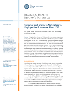 Consumer Cost-Sharing in Marketplace vs. Employer Health Insurance Plans, 2015