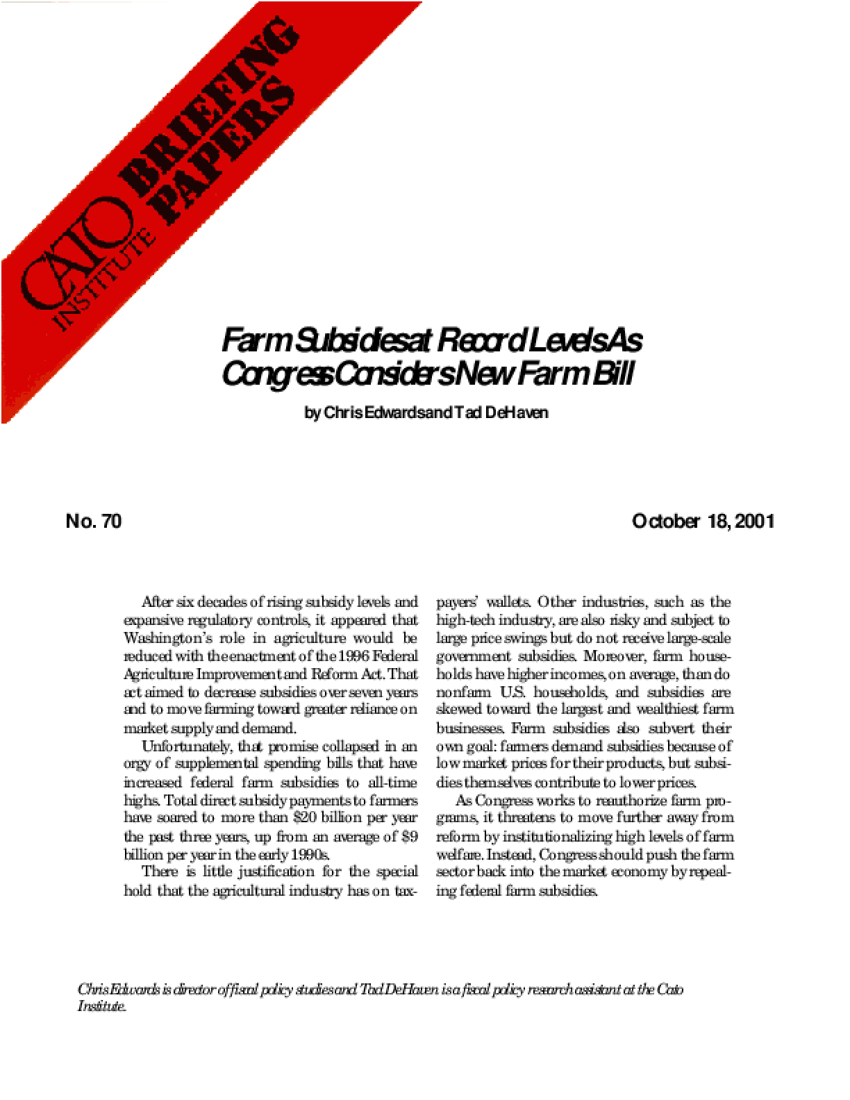 Farm Subsidies at Record Levels As Congress Considers New Farm Bill