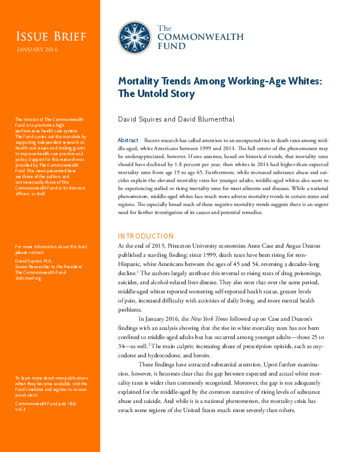 Mortality Trends Among Working-Age Whites: The Untold Story