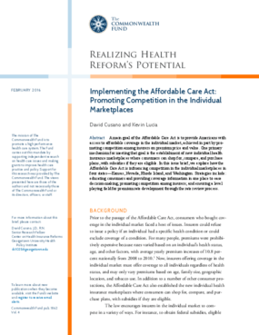 Implementing the Affordable Care Act: Promoting Competition in the Individual Marketplaces