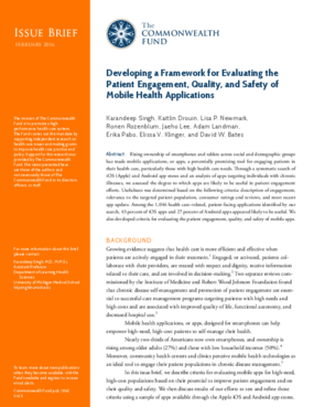 Developing a Framework for Evaluating the Patient Engagement, Quality, and Safety of Mobile Applications