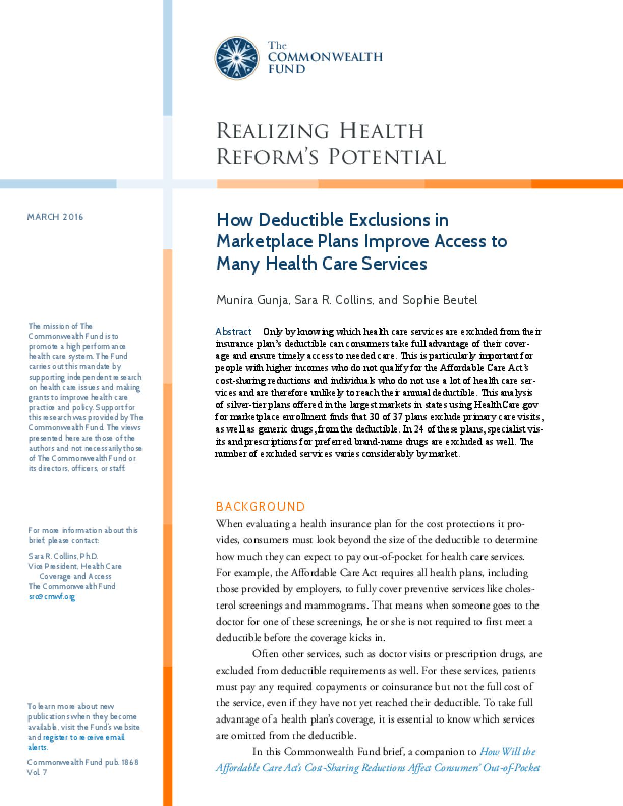 How Deductible Exclusions in Marketplace Plans Improve Access to Many Health Care Services