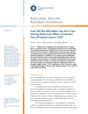 How Will the Affordable Care Act's Cost-Sharing Reductions Affect Consumers' Out-of-Pocket Costs in 2016?