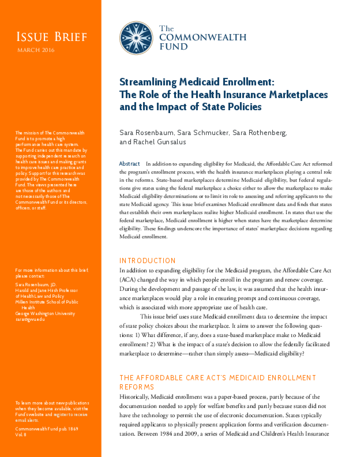 Streamlining Medicaid Enrollment: The Role of the Health Insurance Marketplaces and the Impact of State Policies