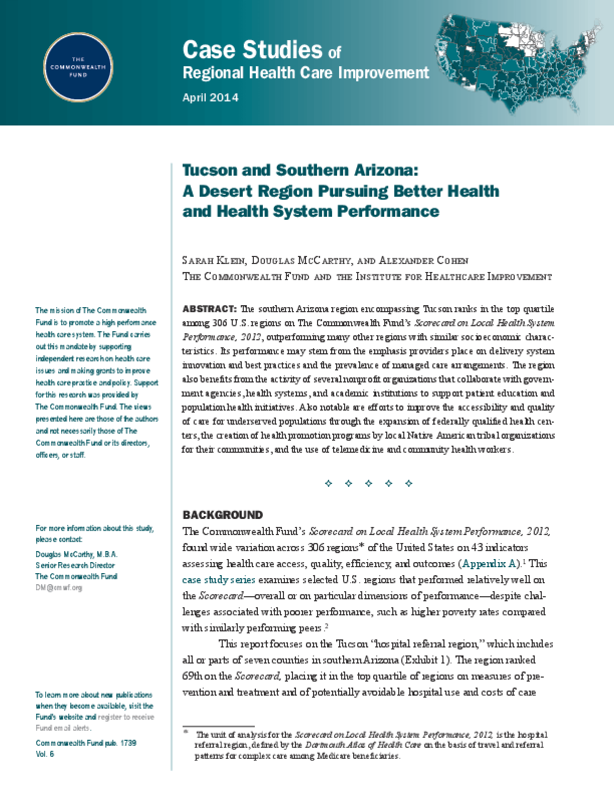 Tucson and Southern Arizona: A Desert Region Pursuing Better Health and Health System Performance