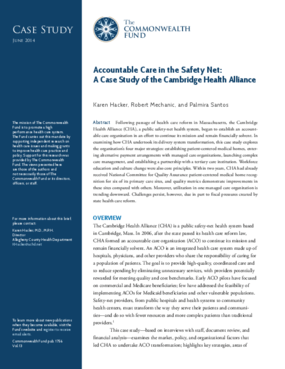 Accountable Care in the Safety Net: A Case Study of the Cambridge Health Alliance