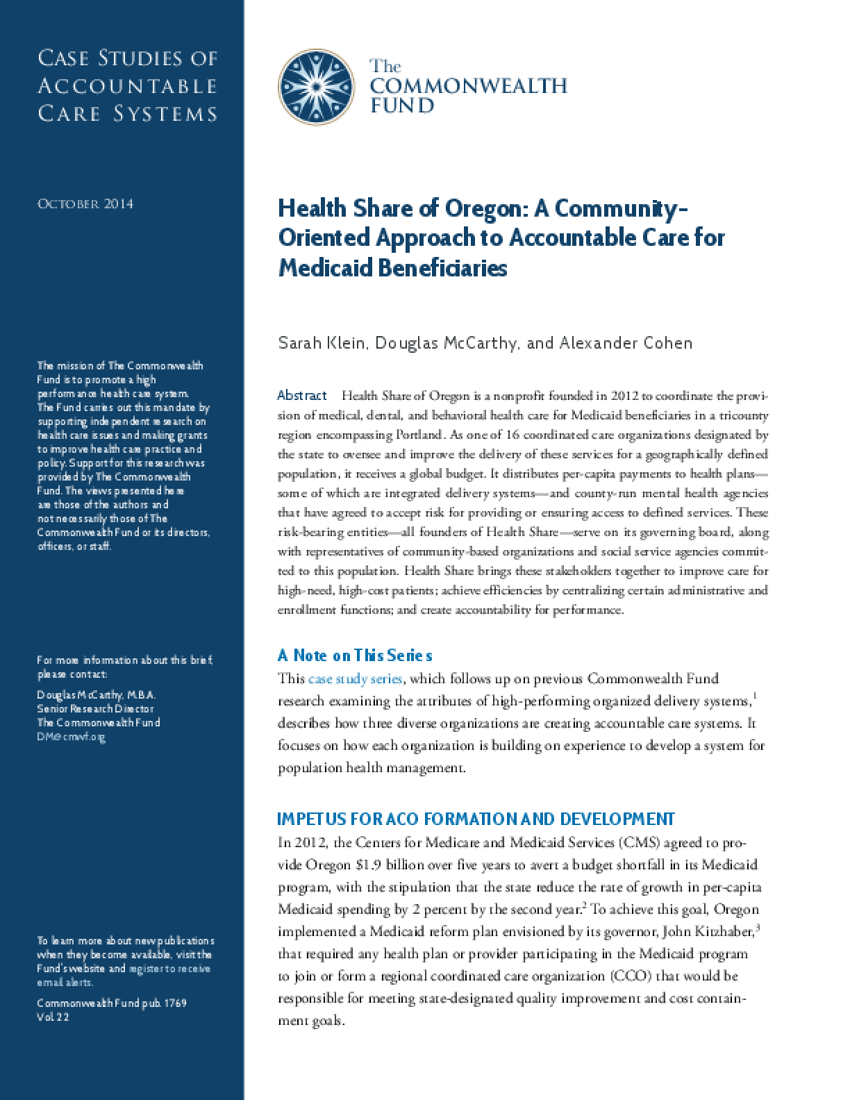 Health Share of Oregon: A Community-Oriented Approach to Accountable Care for Medicaid Beneficiaries