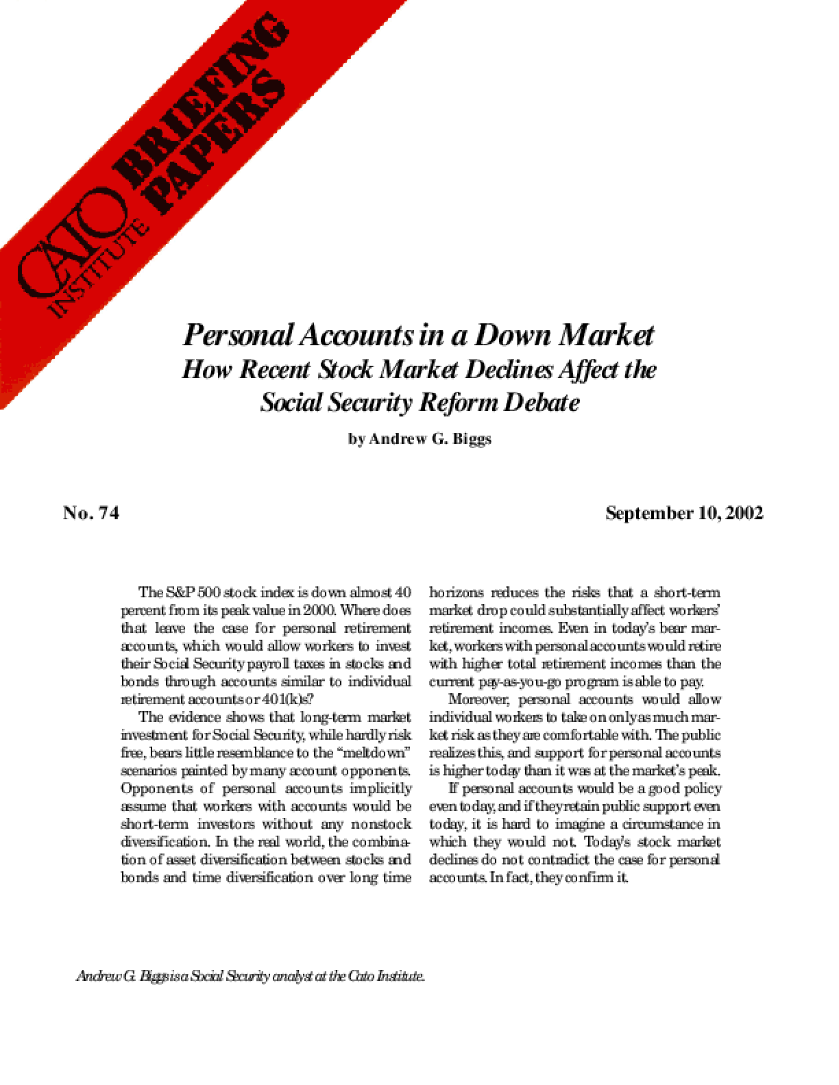 Personal Accounts in a Down Market: How Recent Stock Market Declines Affect the Social Security Reform Debate