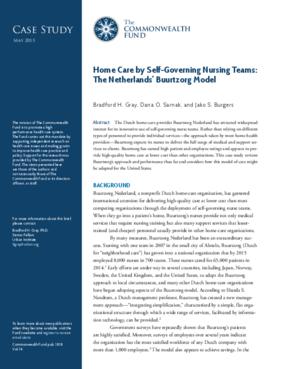 Home Care by Self-Governing Nursing Teams: The Netherlands' Buurtzorg Model