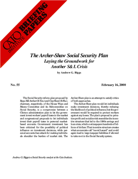 The Archer-Shaw Social Security Plan: Laying the Groundwork for Another S&L;Crisis