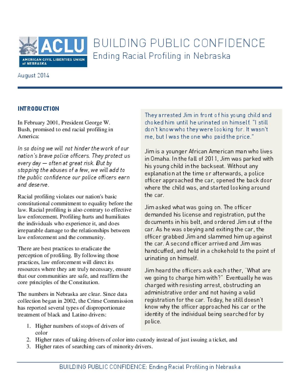 Building Public Confidence: Ending Racial Profiling in Nebraska