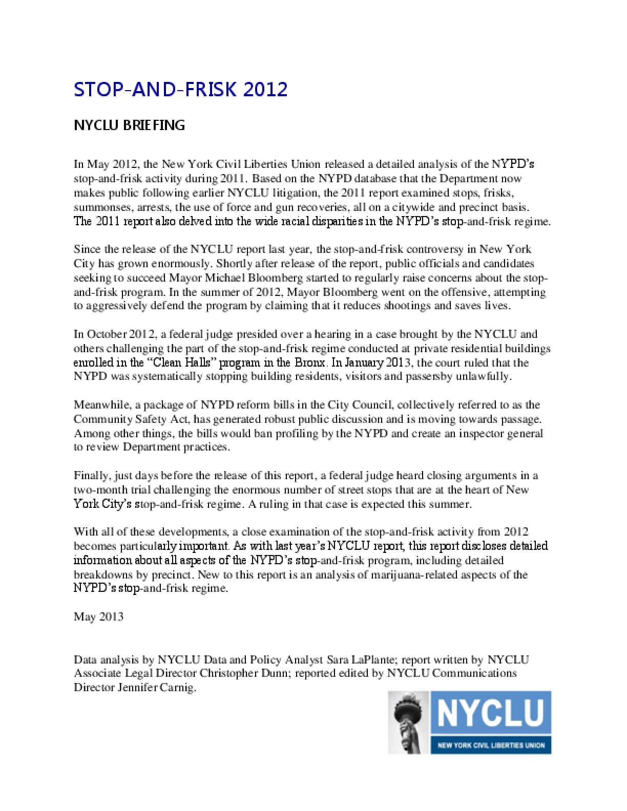 Stop and Frisk 2012: NYCLU Briefing