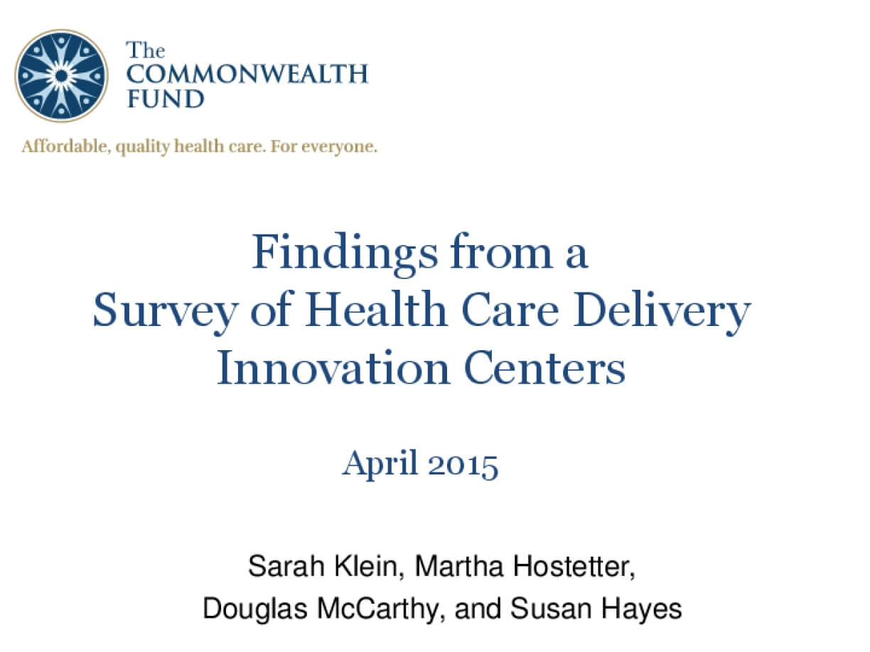 Findings from a Survey of Health Care Delivery Innovation Centers