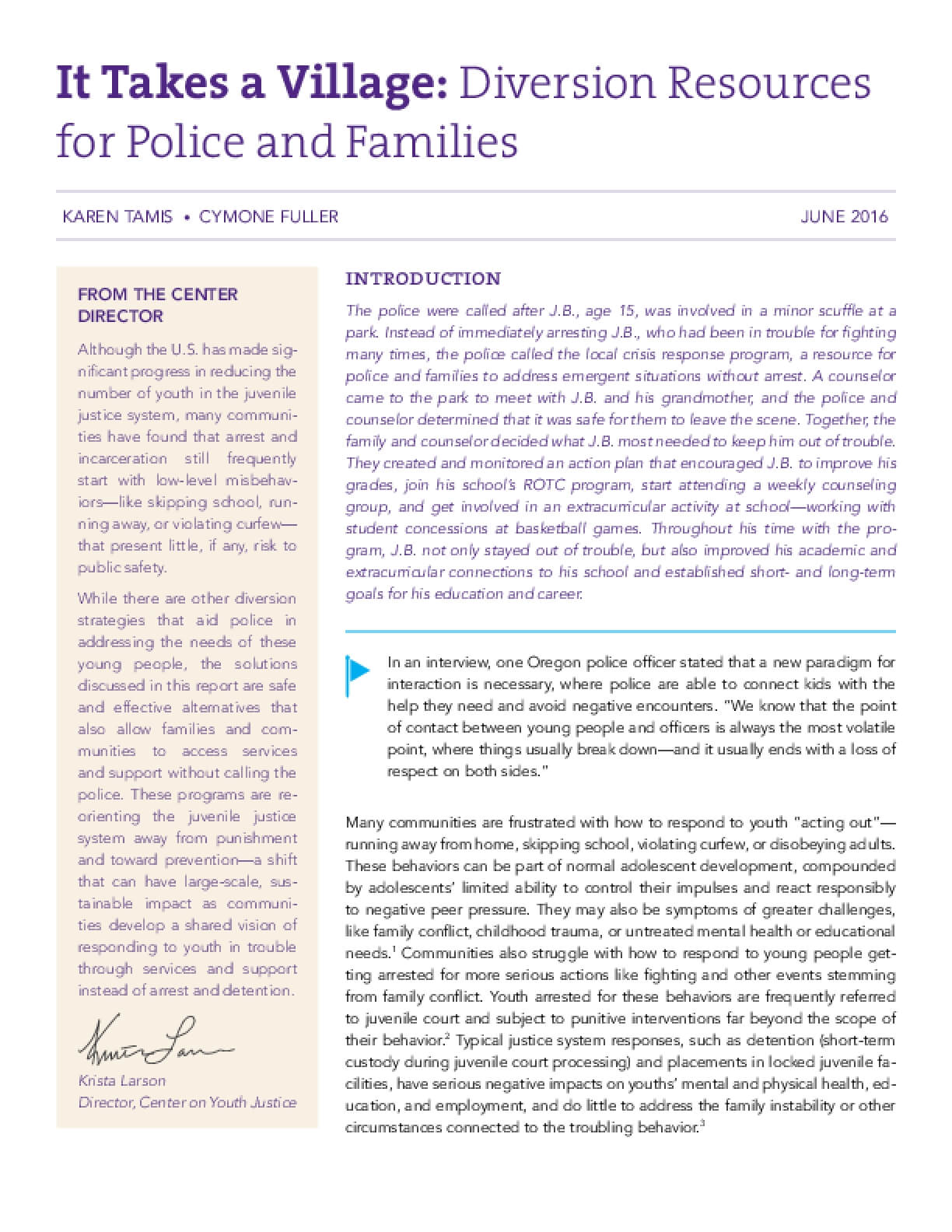It Takes a Village: Diversion Resources for Police and Families