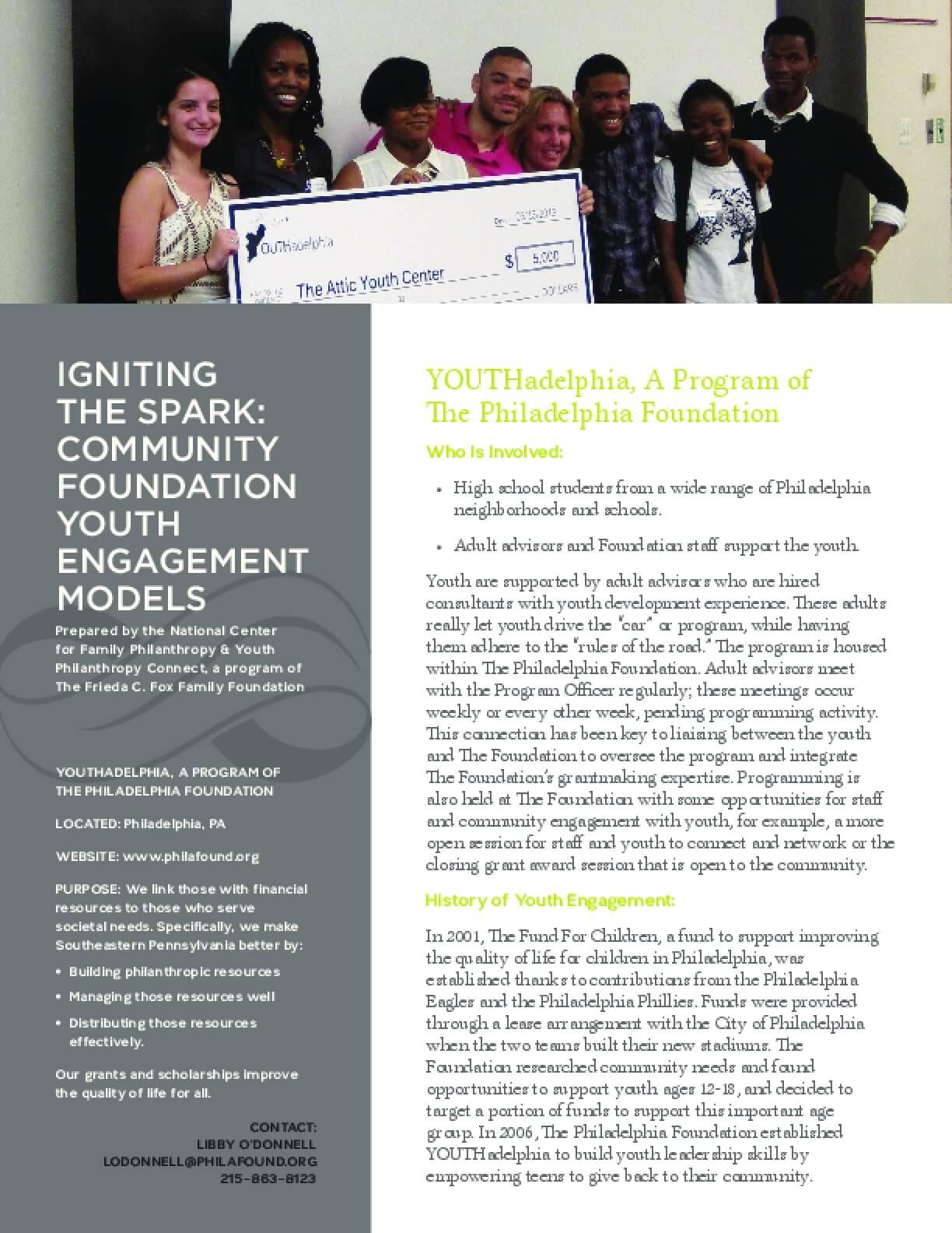 Igniting the Spark: Community Foundation Youth Engagement Models, YOUTHadelphia