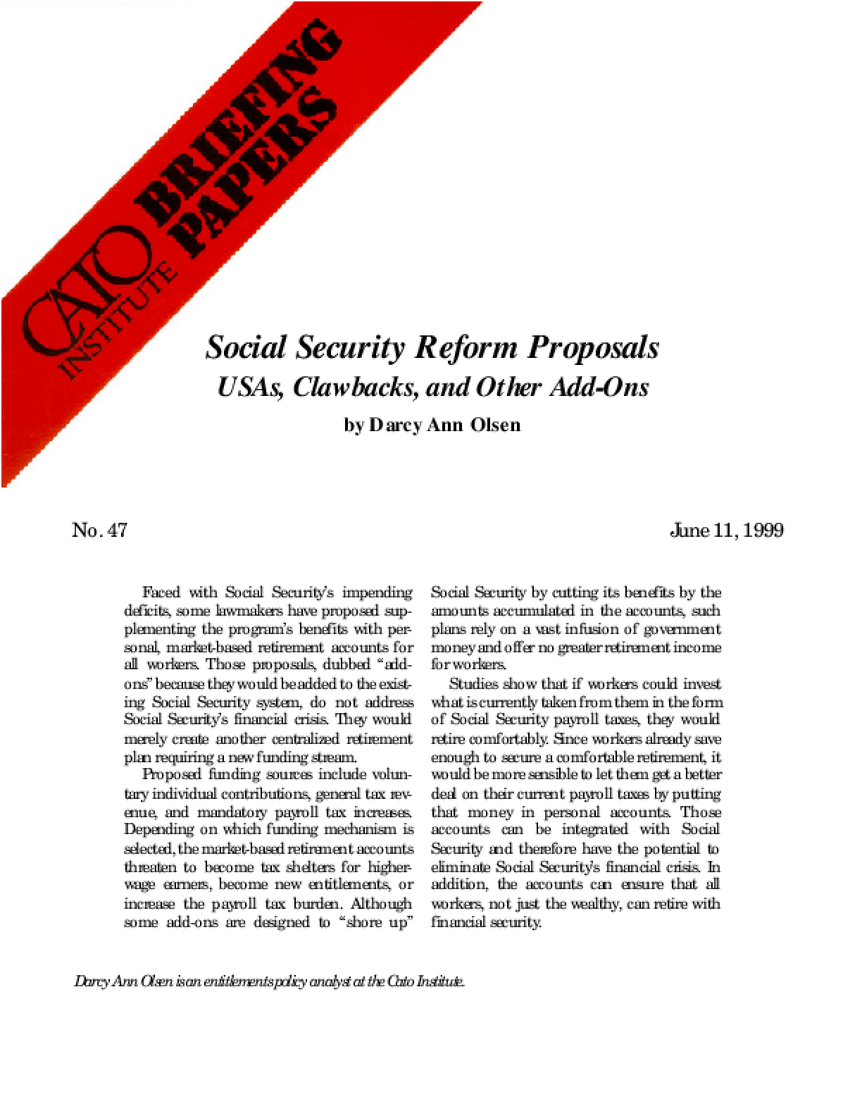 Social Security Reform Proposals: USAs, Clawbacks, and Other Add-Ons