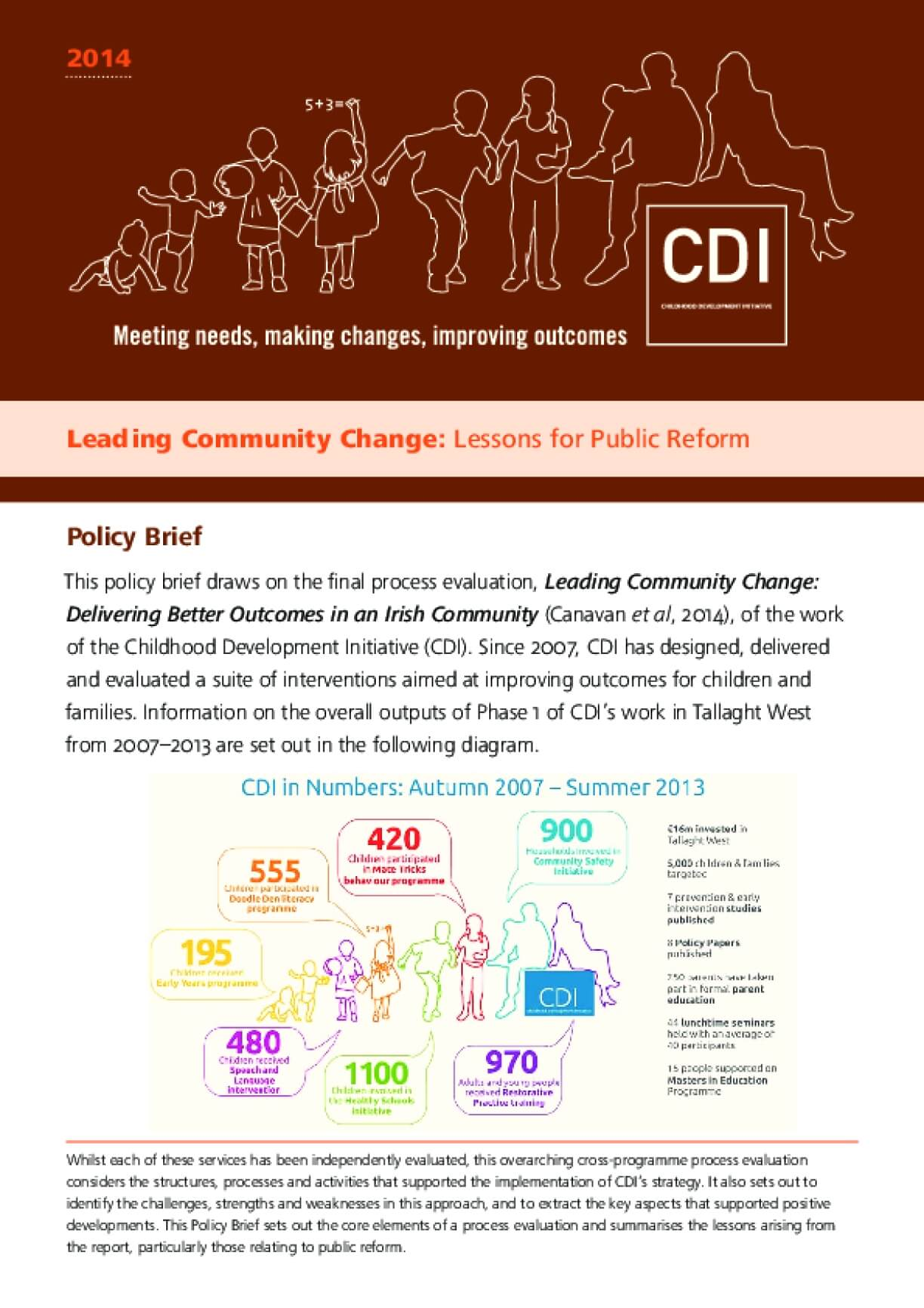 Leading Community Change: Delivery better outcomes in an Irish Community Process Evaluation Report