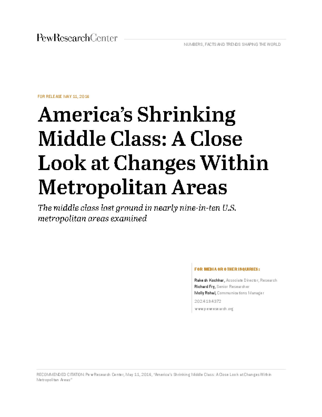 America's Shrinking Middle Class: A Close Look at Changes Within Metropolitan Areas