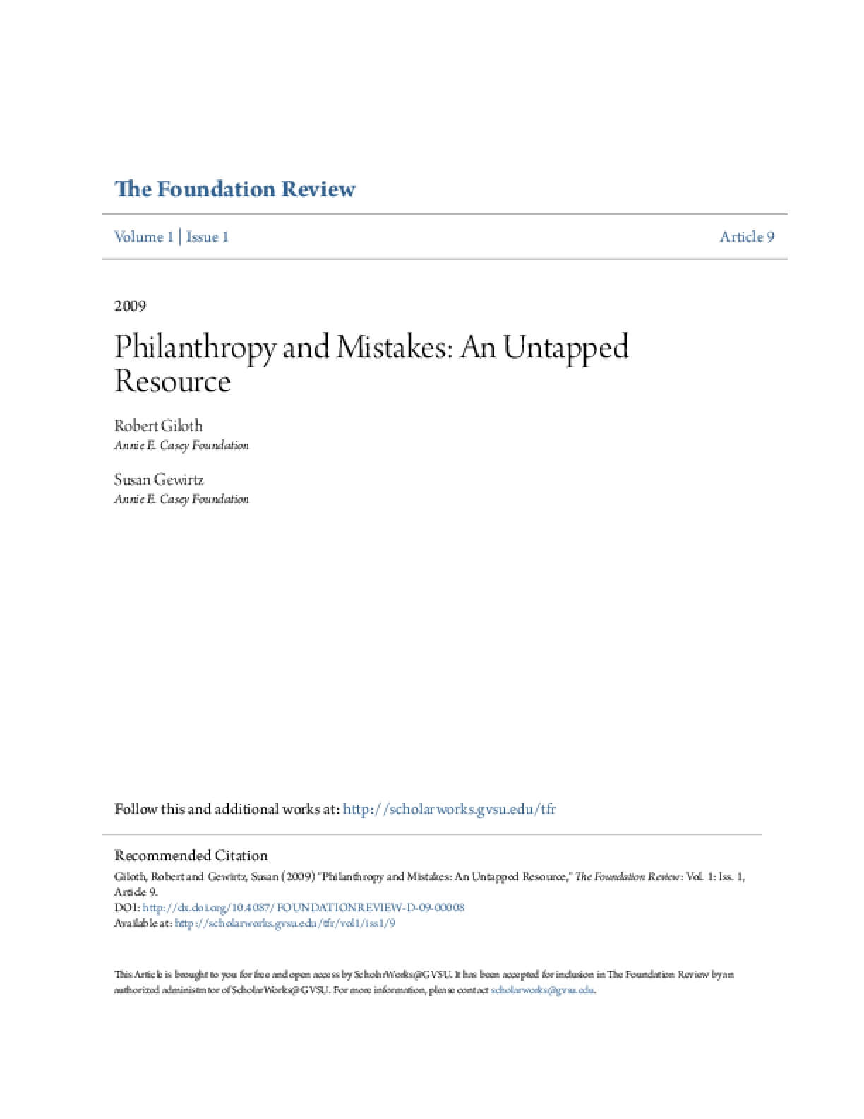 Philanthropy and Mistakes: An Untapped Resource
