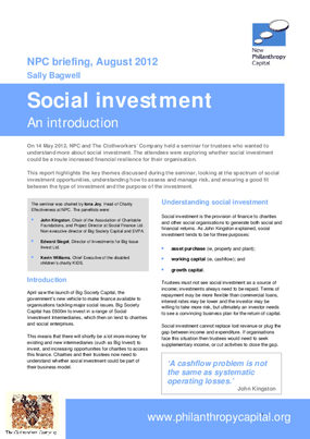Social Investment: An Introduction