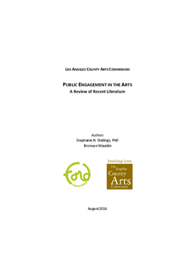 Public Engagement in the Arts: A Review of Recent Literature