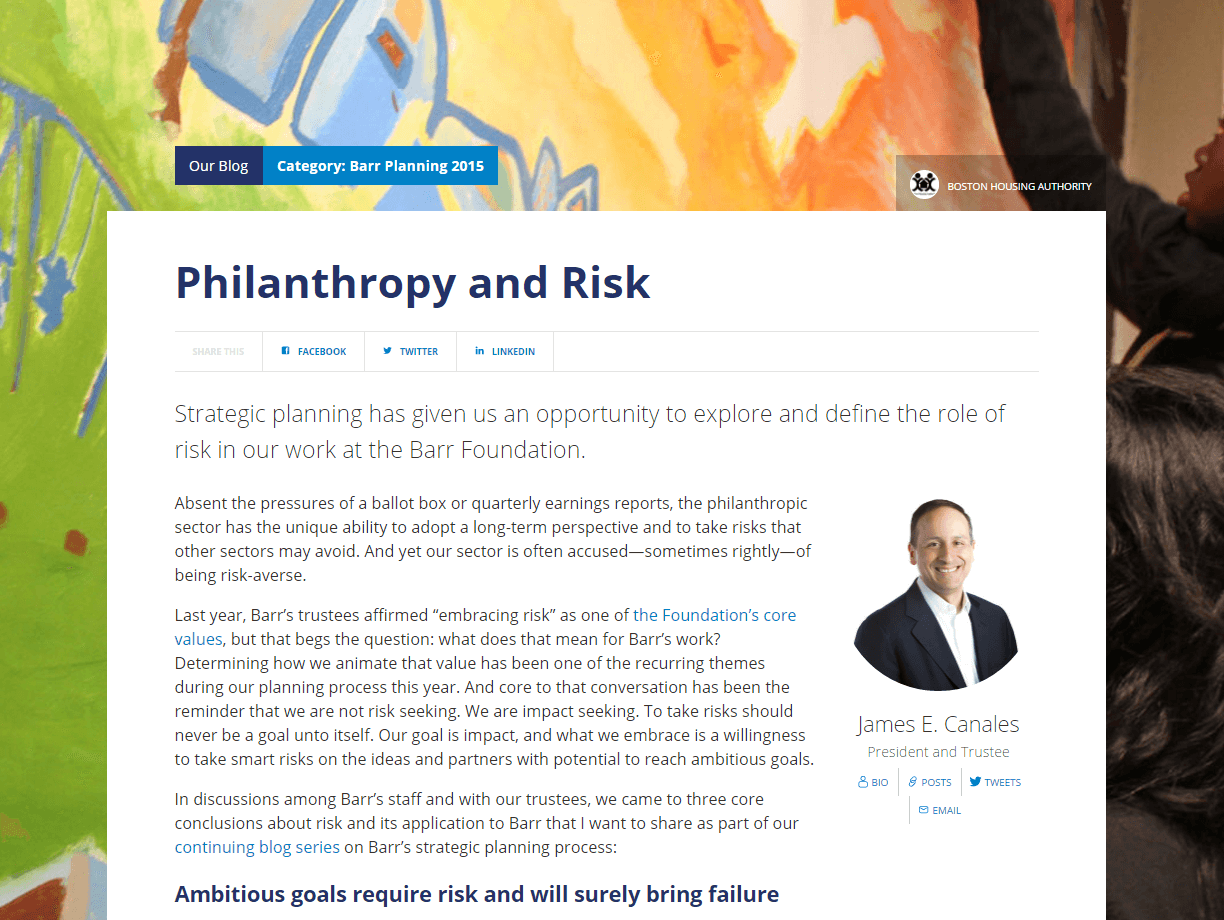 Philanthropy and Risk