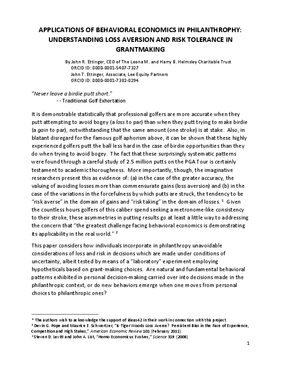 Applications of Behavioral Economics in Philanthropy: Understanding Loss Aversion and Risk Tolerance in Grantmaking