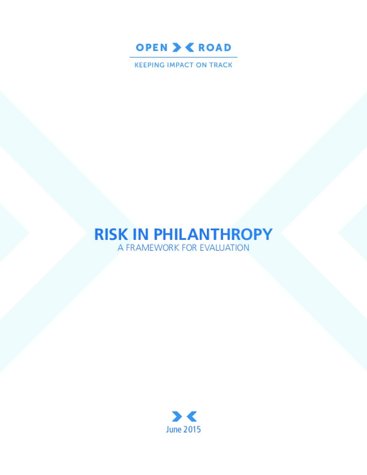 Risk in Philanthropy: A Framework for Evaluation