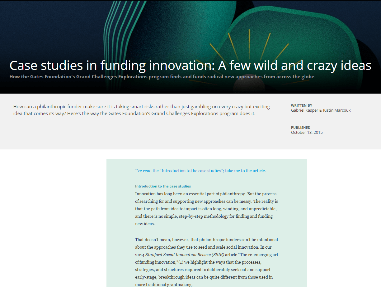 Case Studies in Funding Innovation: A Few Wild and Crazy Ideas