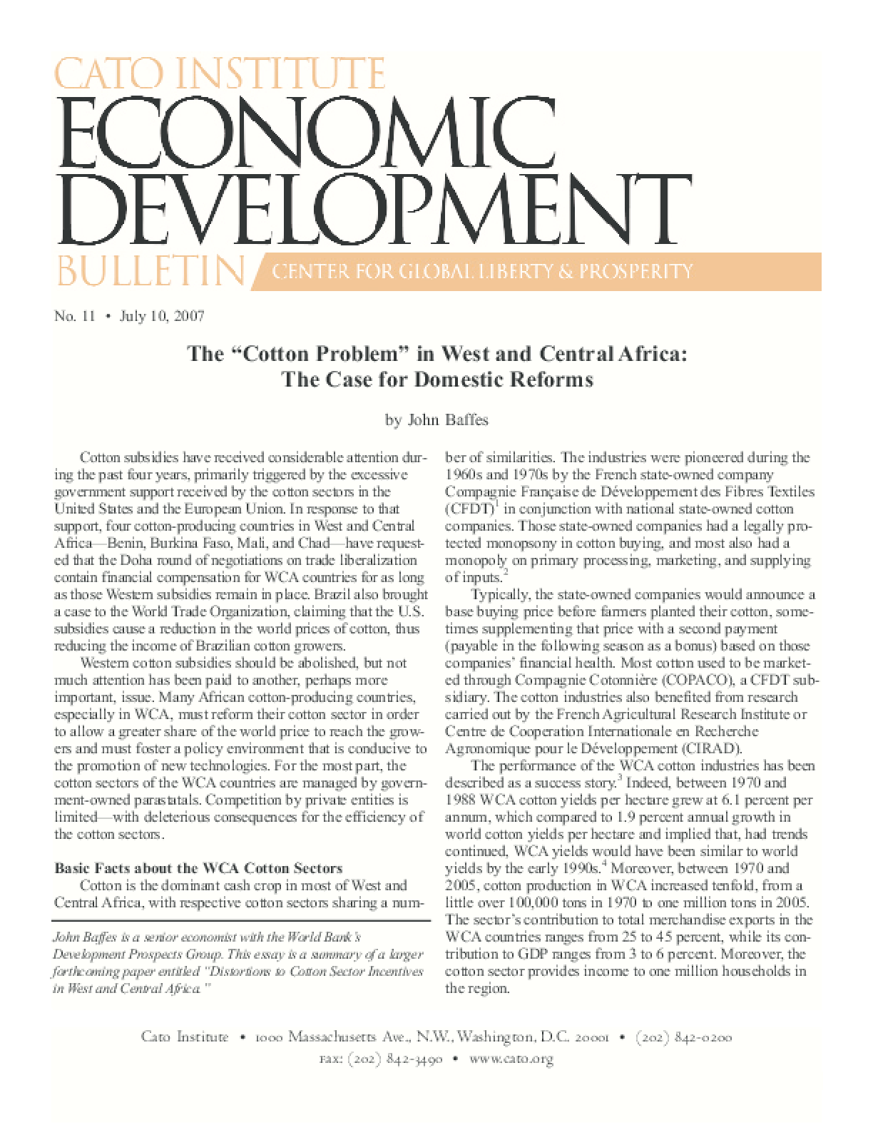 """The """"Cotton Problem"""" in West and Central Africa: The Case for Domestic Reforms"""