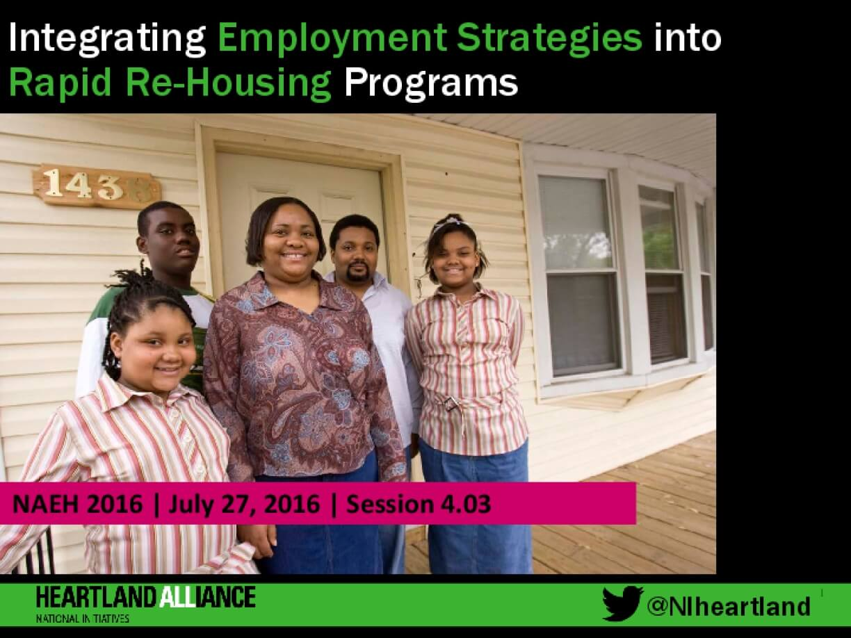 Integrating Employment Strategies into Rapid Re-Housing Programs