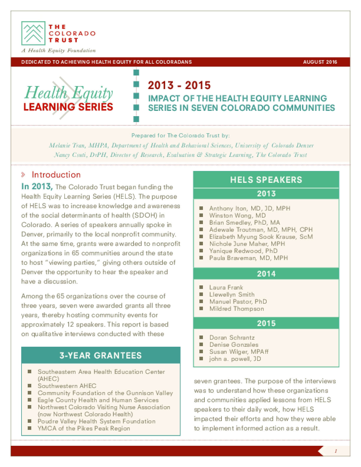 Impact of the Health Equity Learning Series in Seven Colorado Communities: 2013 - 2015