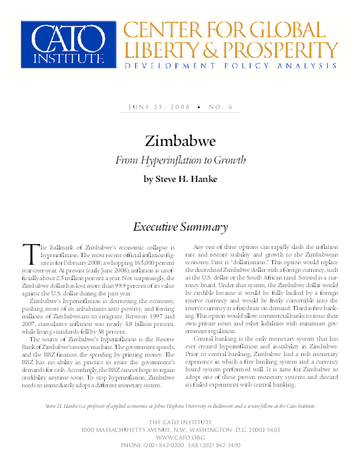 Zimbabwe: From Hyperinflation to Growth