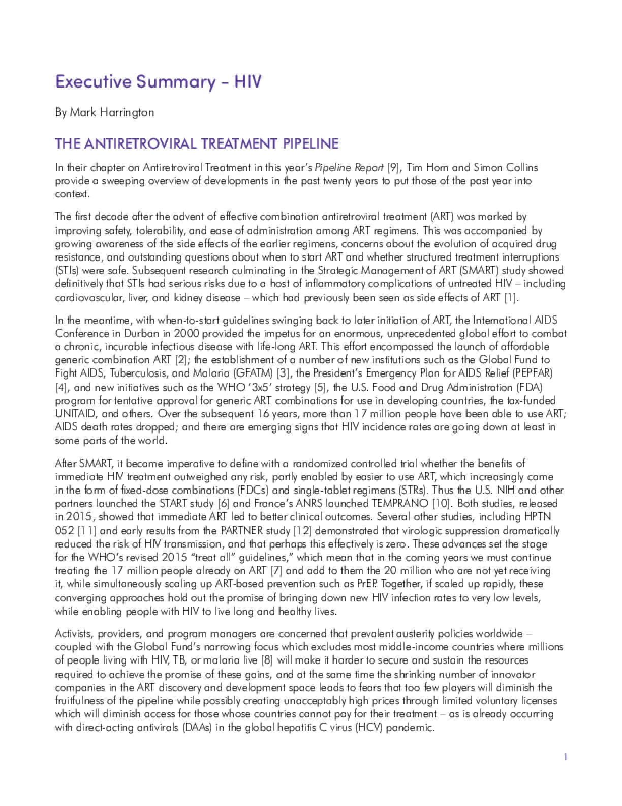 2016 Pipeline Report HIV and TB, Executive Summary