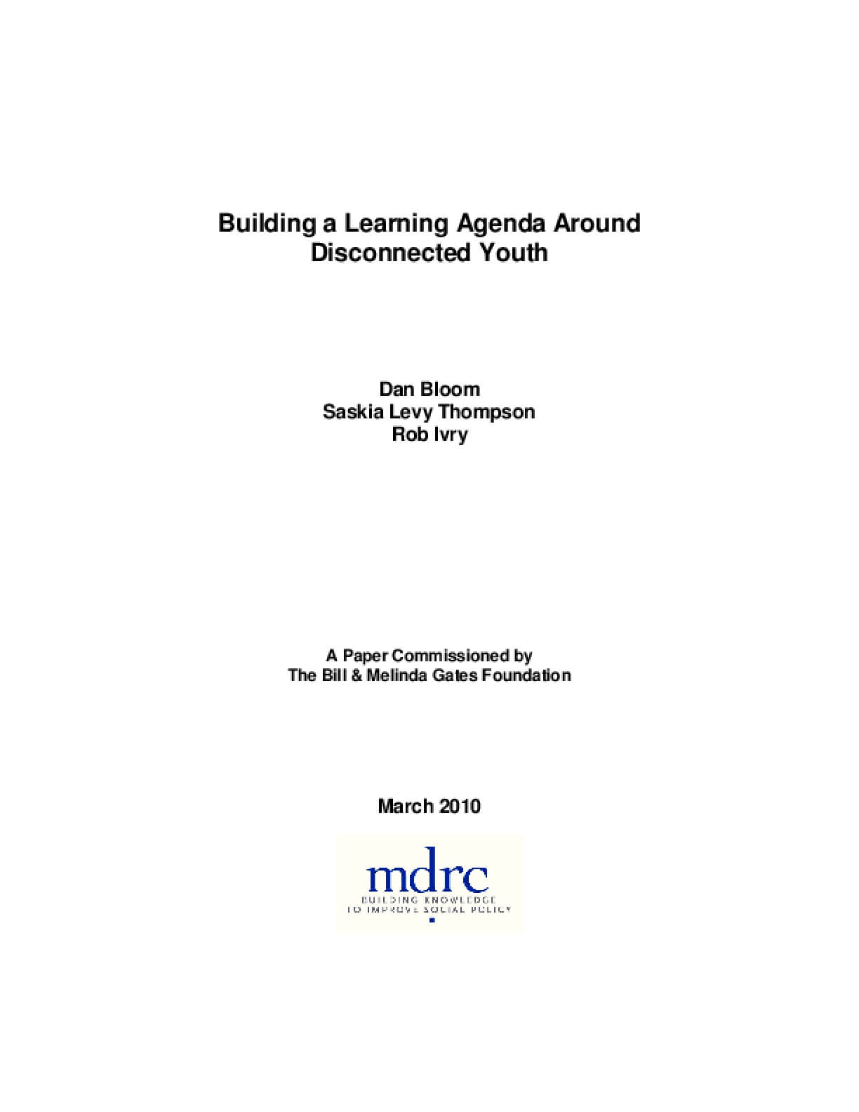 Building a Learning Agenda Around Disconnected Youth