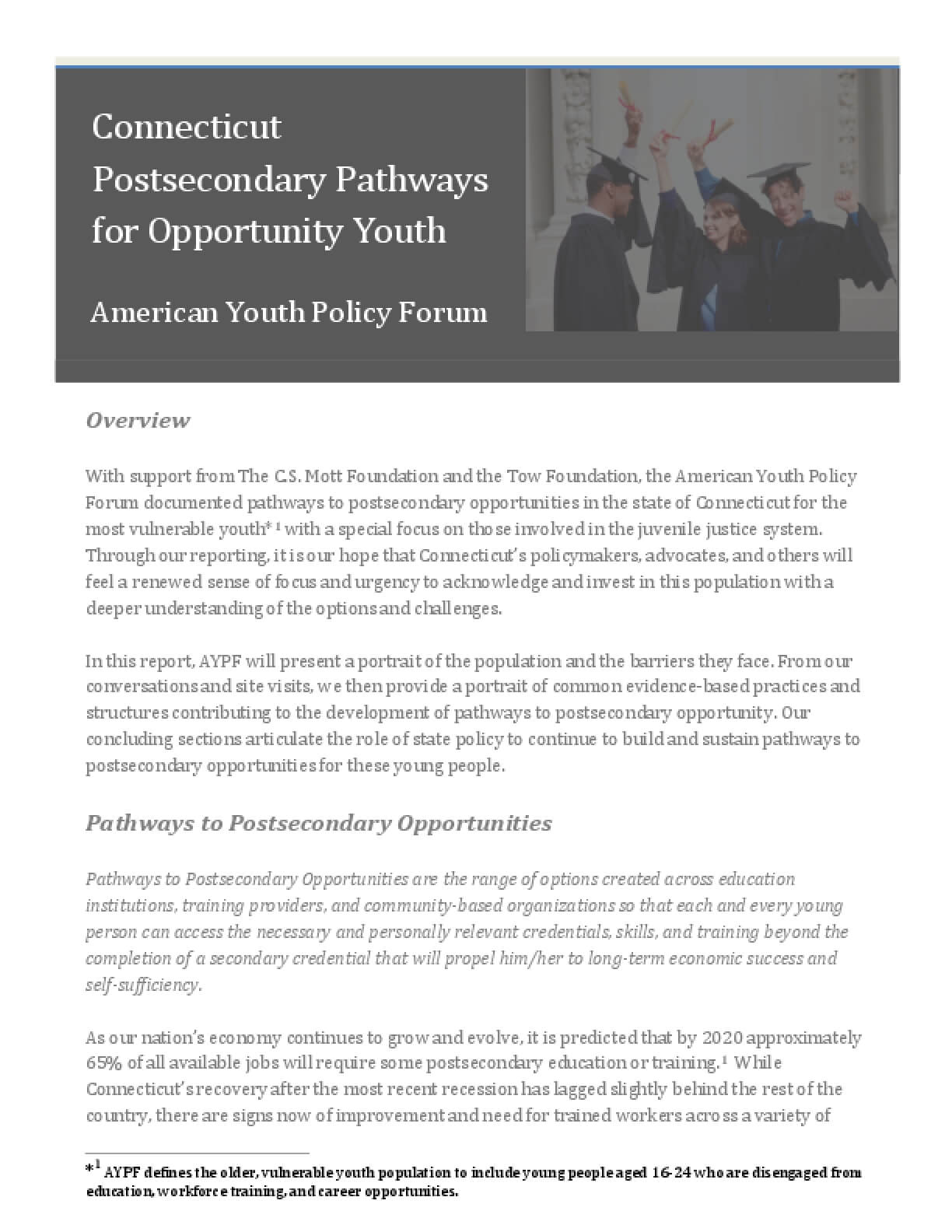 Connecticut Postsecondary Pathways for Opportunity Youth
