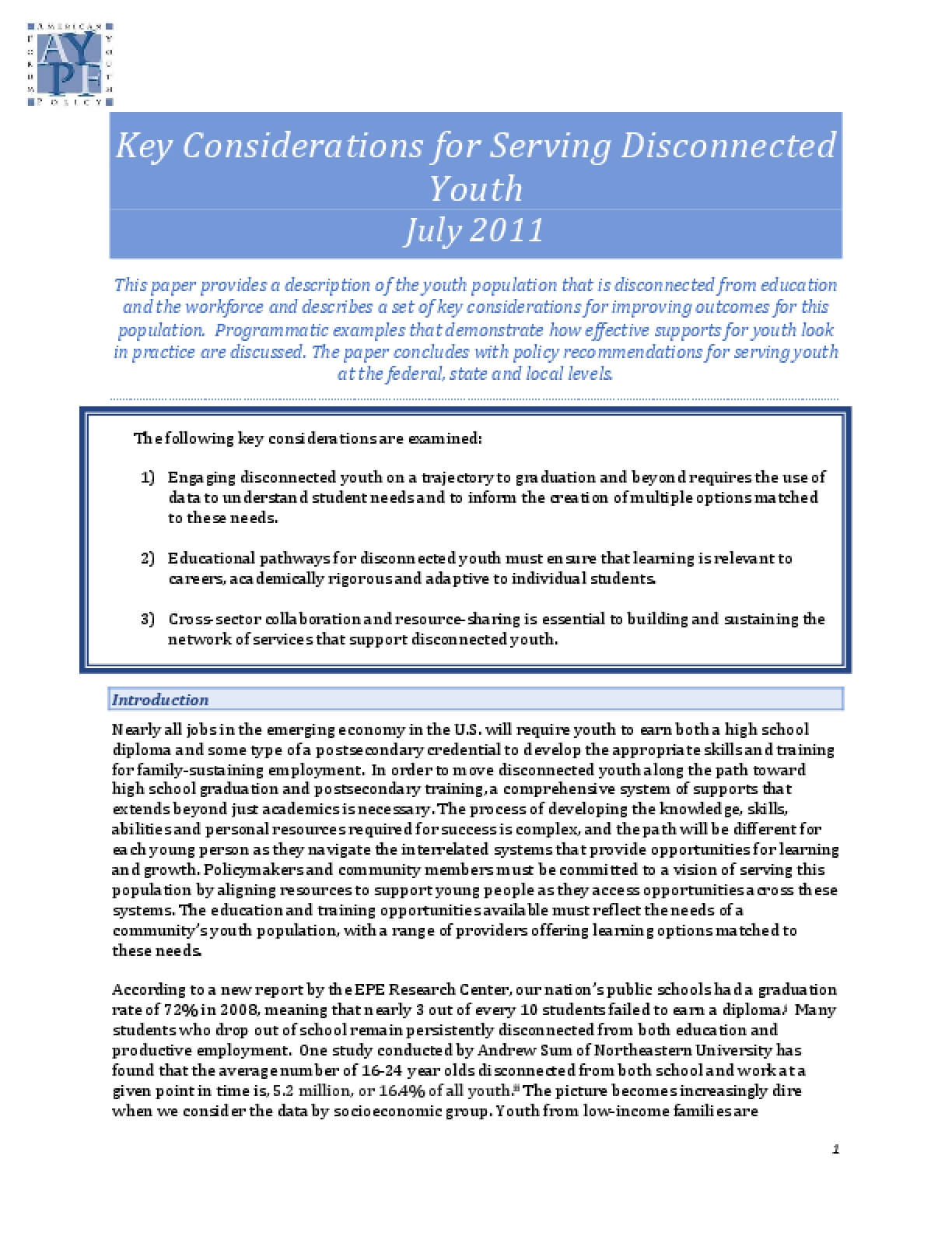 Key Considerations for Serving Disconnected Youth, July 2011