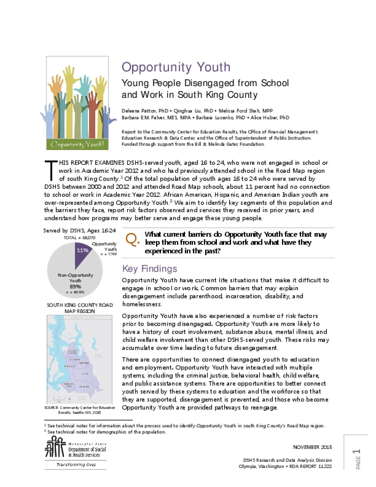 Opportunity Youth: Young People Disengaged from School and Work in South King County