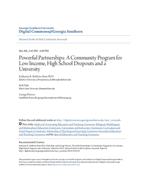 Powerful Partnerships: A Community Program for Low Income, High School Dropouts and a University