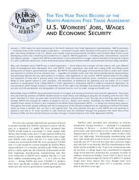 Ten Year Track Record of NAFTA: U.S. Workers' Jobs, Wages, and Economic Security