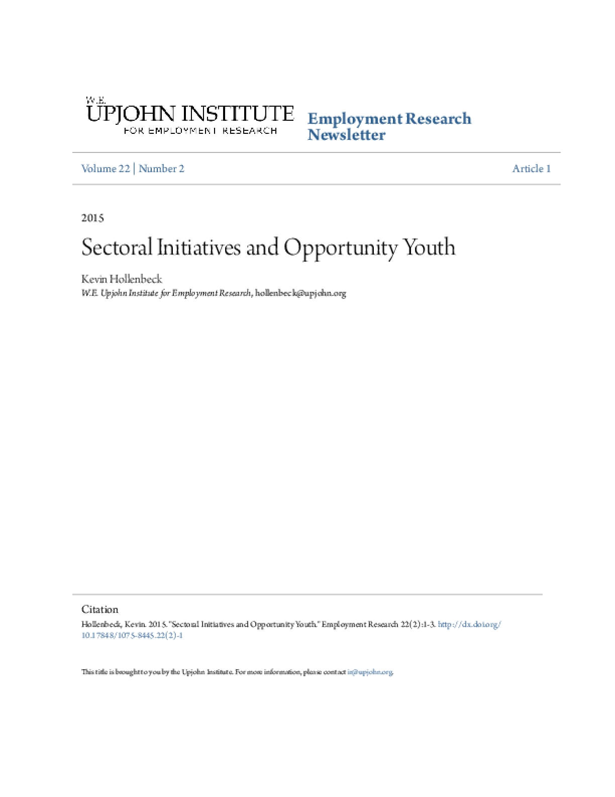 Sectoral Initiatives and Opportunity Youth