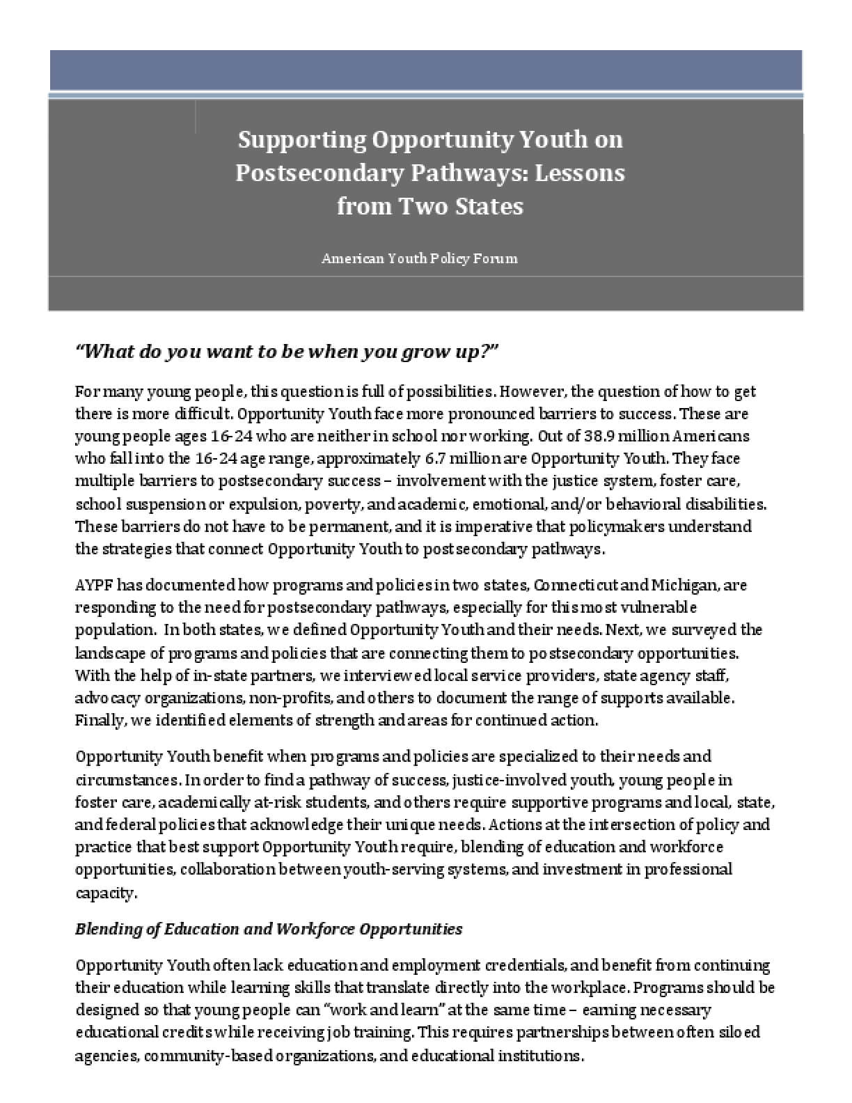 Supporting Opportunity Youth on Postsecondary Pathways: Lessons from Two States