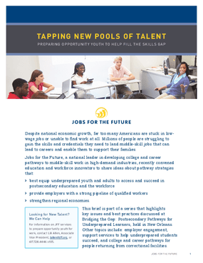 Tapping New Pools of Talent: Preparing Opportunity Youth to Help Fill the Skills Gap